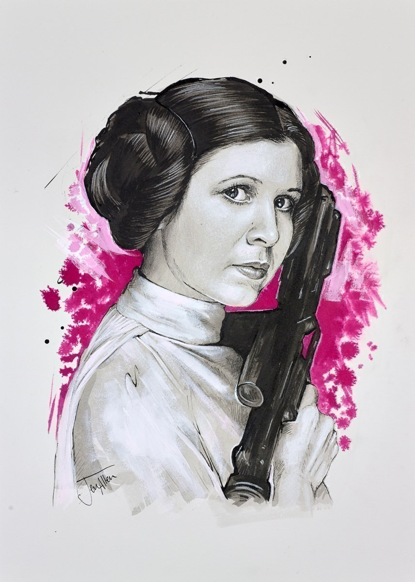 Leia Sketch by Jen Allen -  sized 10x14 inches. Available from Whitewall Galleries